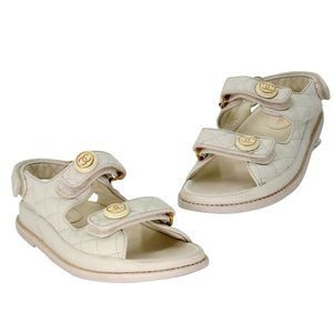 Chanel Quilted Diamond Crystal Canvas Dad Sandals